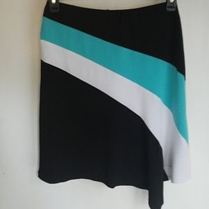 NWT CACHE SKIRT SZ M Teal- black and white- L@@K